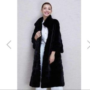 NWOT black faux fur long coat